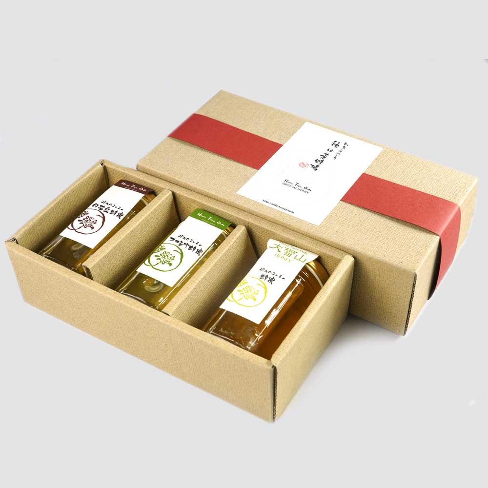 北海道セット 白花豆蜂蜜、アカシア蜂蜜、大雪山蜂蜜 種田養蜂場